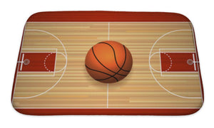 Bath Mat, Basketball Hardwood Court Floor Top View Illustration