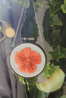 Hanging Hoop Orange Pansy Flower Embroidery