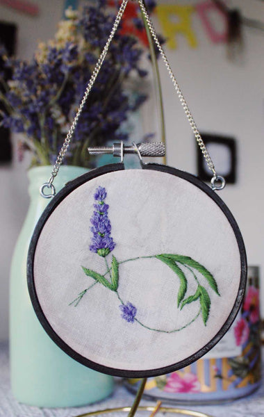 Tiny Embroidered Lavender Hanging Hoop (Style 2)