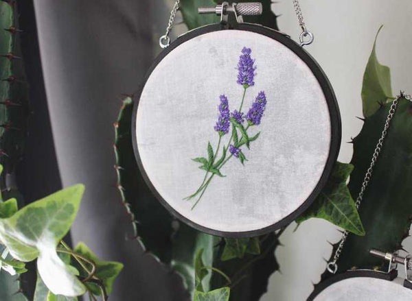 Small Lavender Bunch Hanging Embroidery Hoop