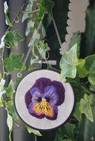 Purple Pansy Hanging Hoop Embroidery