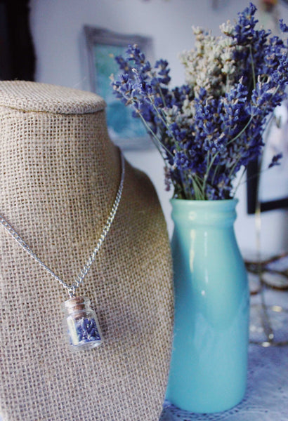 Tiny Corked Jar Necklace Filled with Dried Lavender