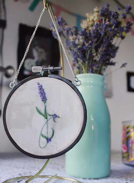 Tiny Embroidered Lavender Hanging Hoop (Style 1)