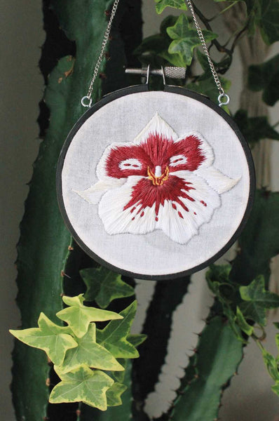 Hanging Hoop White & Maroon Pansy Orchid Embroidery