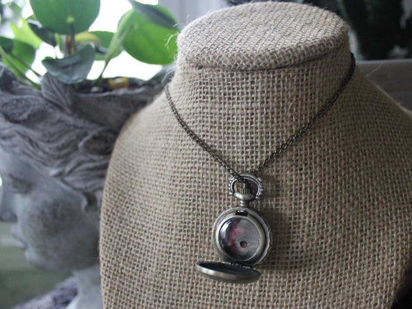 Silver Pocketwatch-Style Locket with Real Butterfly Wing