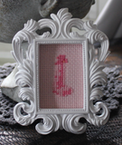 Super Mini Penis or Vulva Framed Cross Stitch