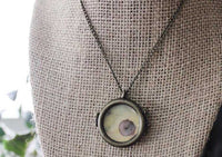 Circular Glass Locket with Real Comet Moth Wing