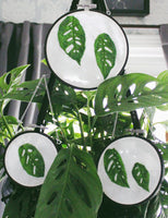 Hanging Hoop Monstera Adansonii Leaf Embroidery (3 Sizes)
