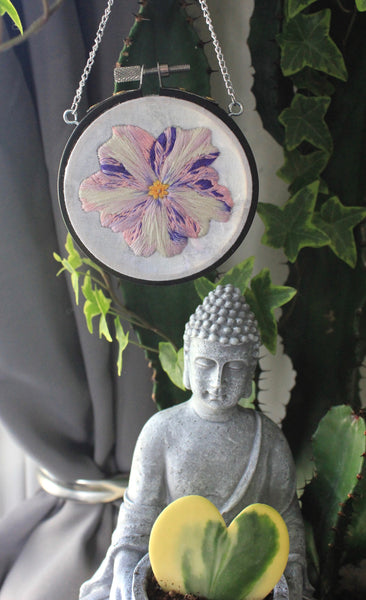 Variegated African Violet Bloom Embroidered Hanging Hoop