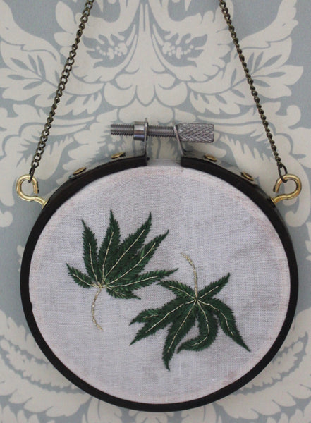 Dancing Cannabis Leaves Hanging Embroidery