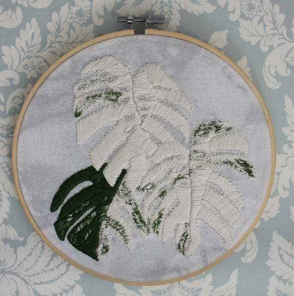 Variegated Monstera Deliciosa Framed Embroidery