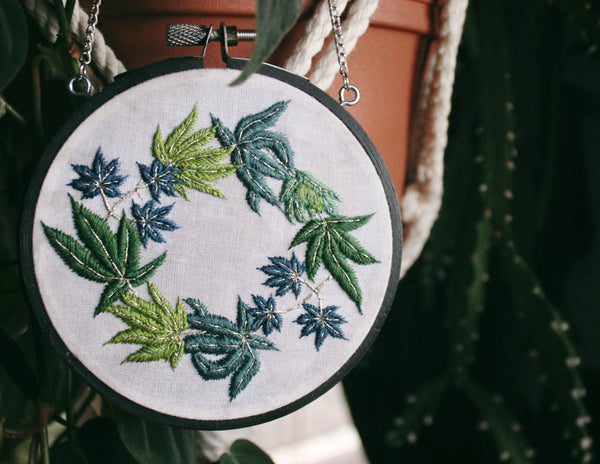 Cannabis Leaf Wreath Hanging Embroidery