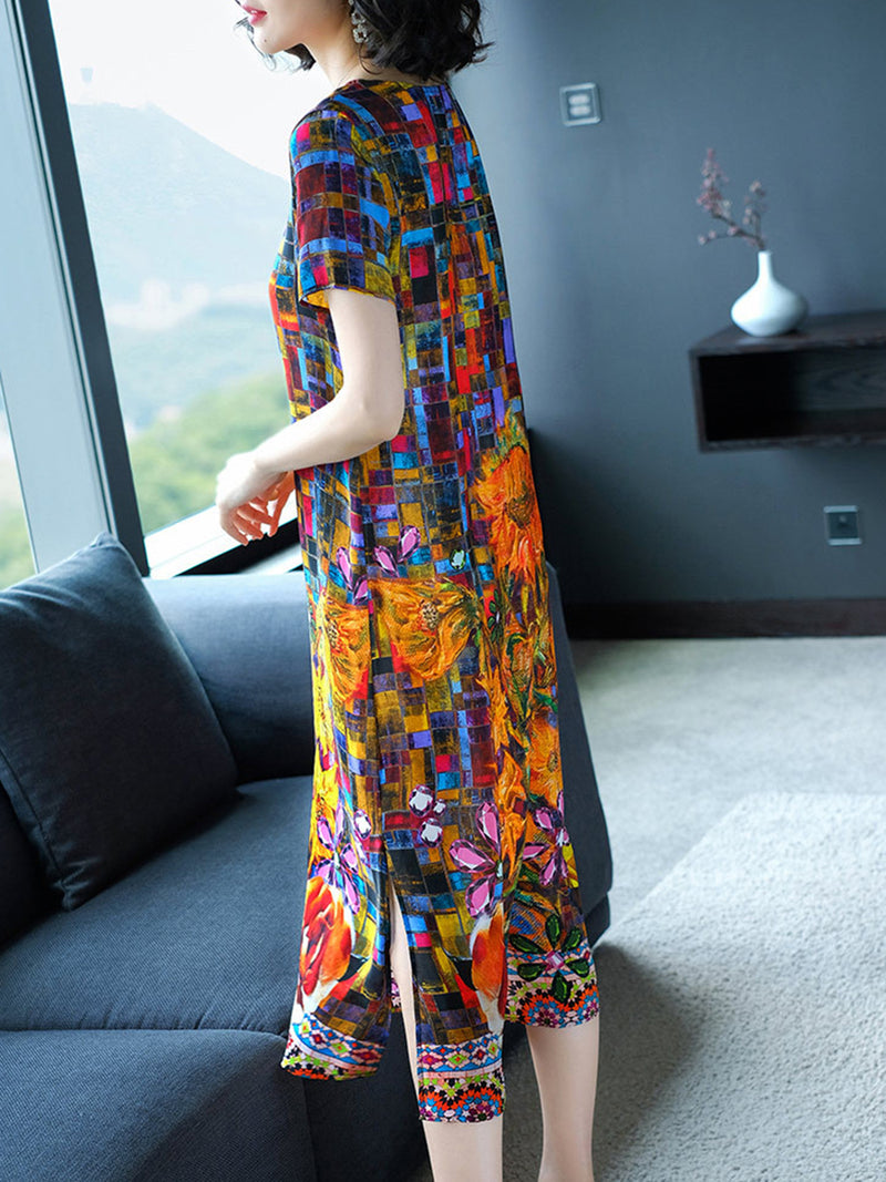 Multicolor Graphic Printed Short Sleeve Casual A-line Midi Dress