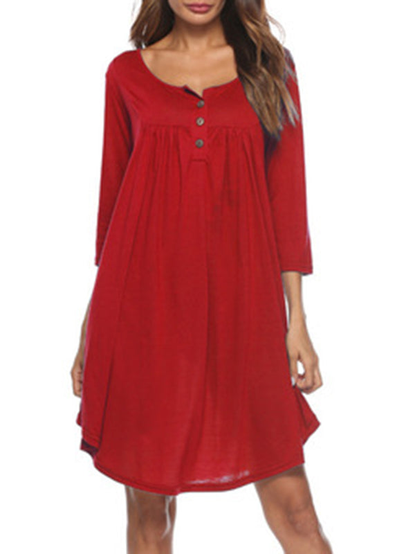 Gathered Buttoned Casual Crew Neck Dress