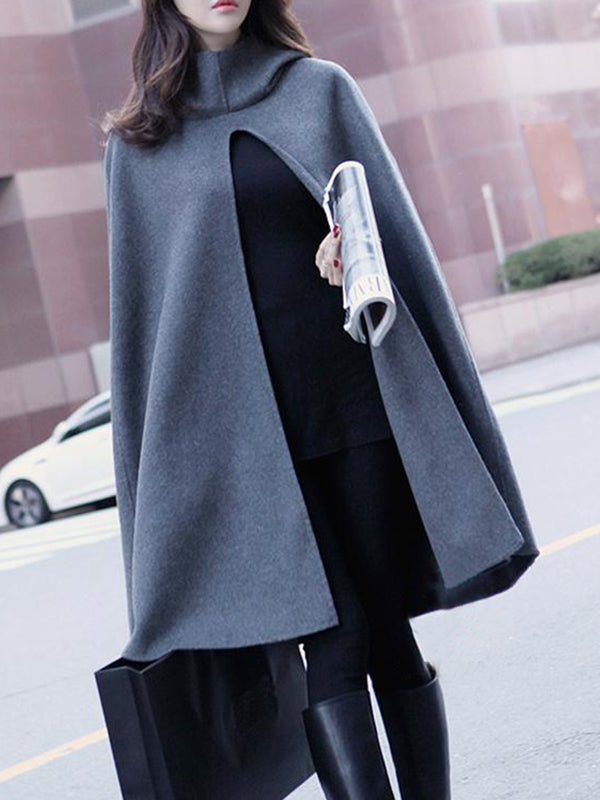 Slit Elegant Cape Sleeve Solid Turtle Neck Shawl Coat