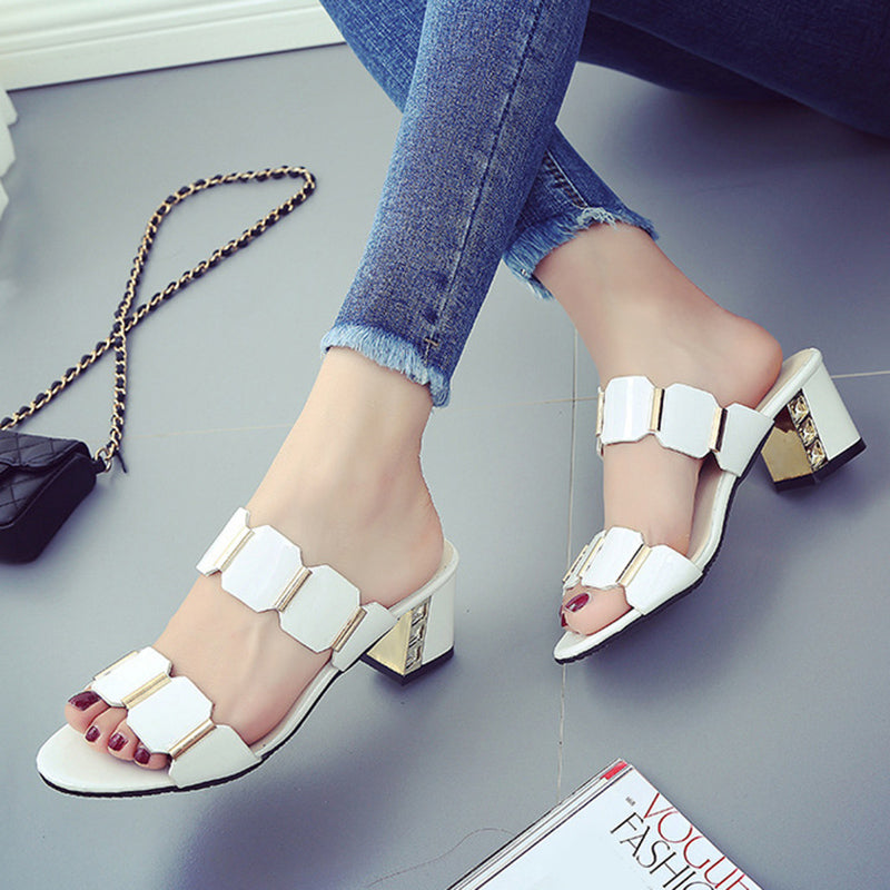 White Paillette Women's Chunky Heel Sandals