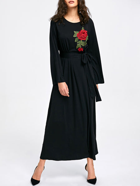 Black Crew Neck Shift Long Sleeve Casual Maxi Dress