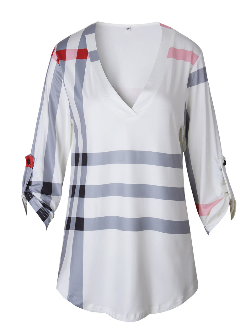 V Neck 3/4 Sleeve Printed Plus Size T-Shirt