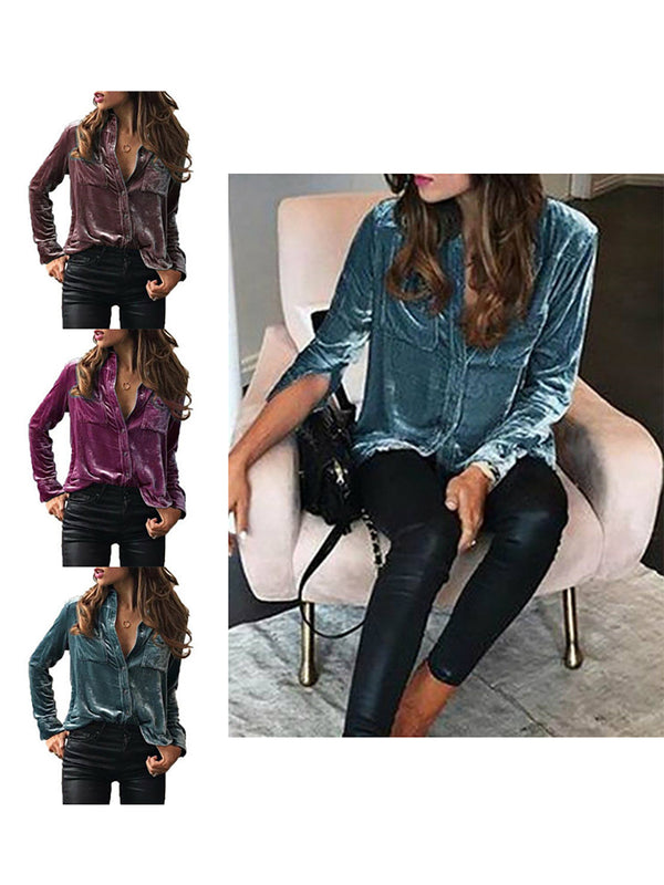 Long Sleeves Shirt Collar Pleuche Casual Solid Shirts