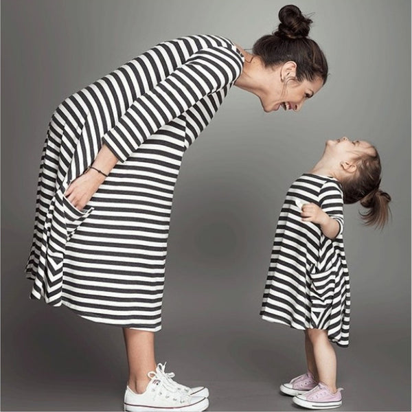 Crew Neck Pockets Elegant Parent-child Dress
