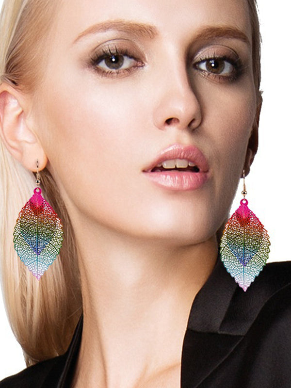 Leaf Pendant Drop Earrings Simple Retro Alloy Leaf Earrings