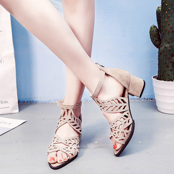Hollow-out Summer PU Wedge Heel Casual Buckle Sandals