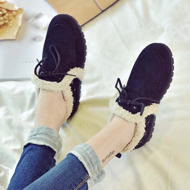 Lace-Up Faux Suede Flat Heel Shoes
