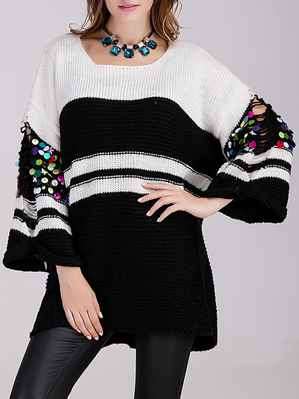 Dark Green Casual Knitted Striped Sweater