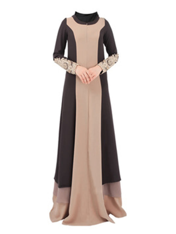 Paneled Embroidery Crew Neck Casual Maxi Dress