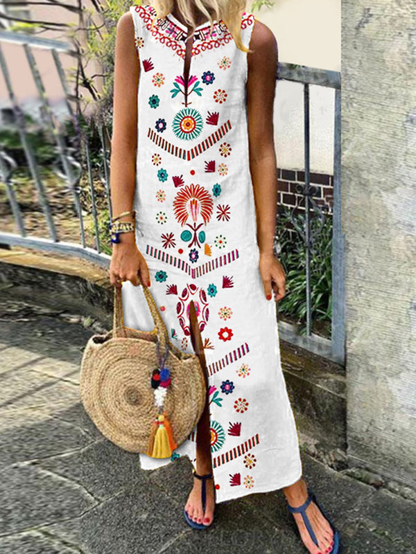 Summer Casual Floral Maxi Slit Dress