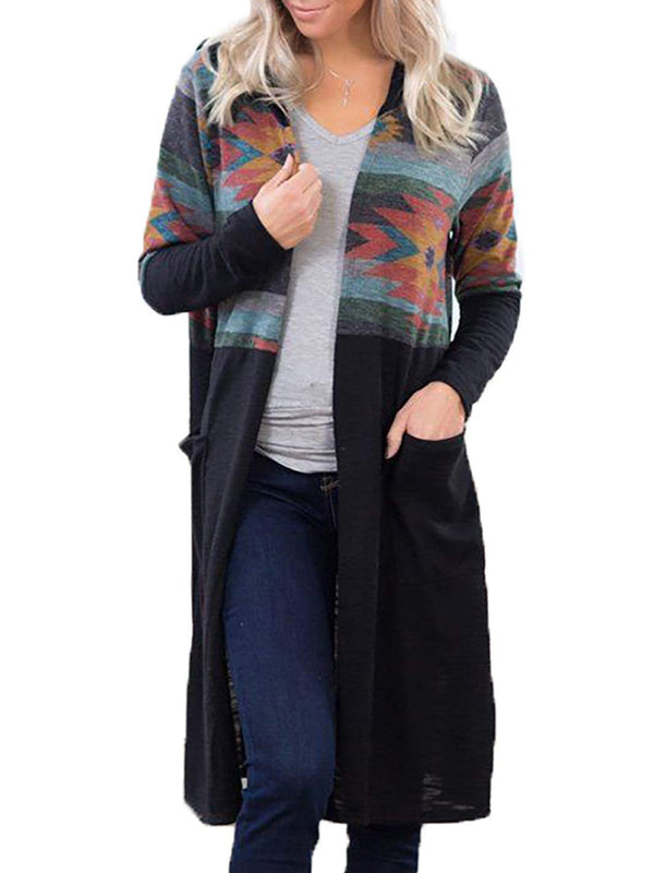 Casual Printed Cardigans With Hoodie