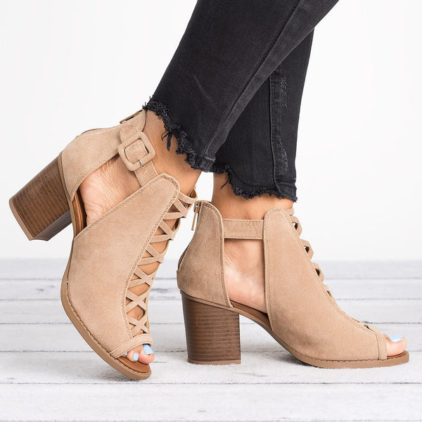 Taupe Casual Hollow-out Artificial Suede Boots
