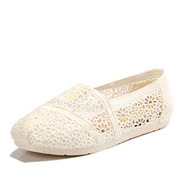 Women Breathable Lace Casual  Slip-on Flats