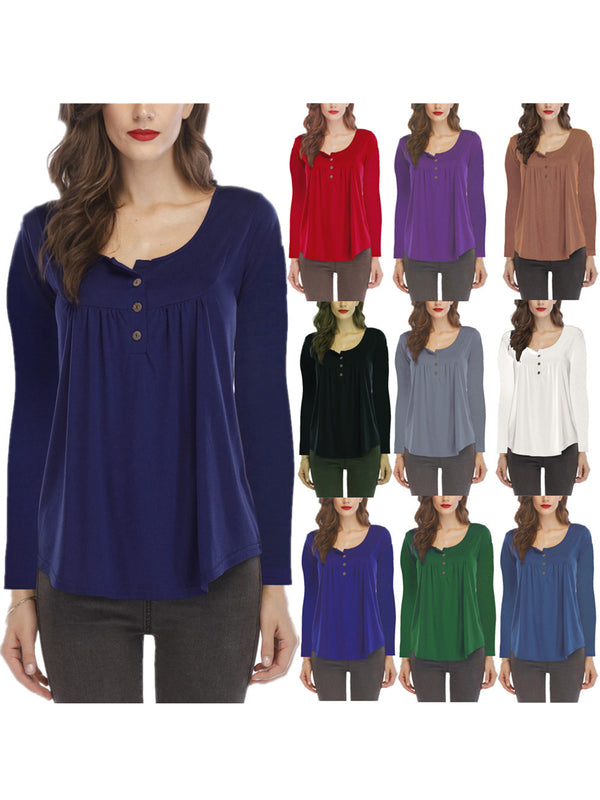 Crew Neck Long Sleeve Gathered Casual Blouse