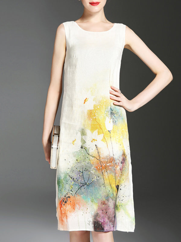 White Casual Floral Printed Crew Neck Satin Dress