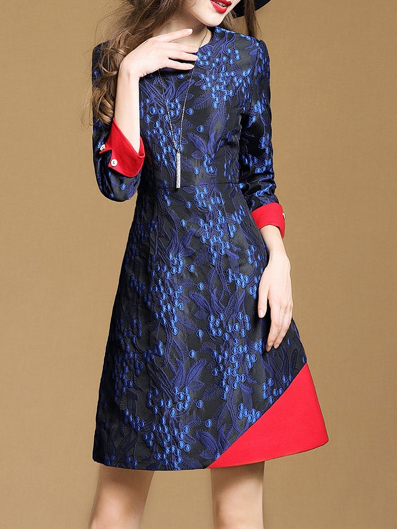 Jacquard 3/4 Sleeve Crew Neck Elegant A-line Dress