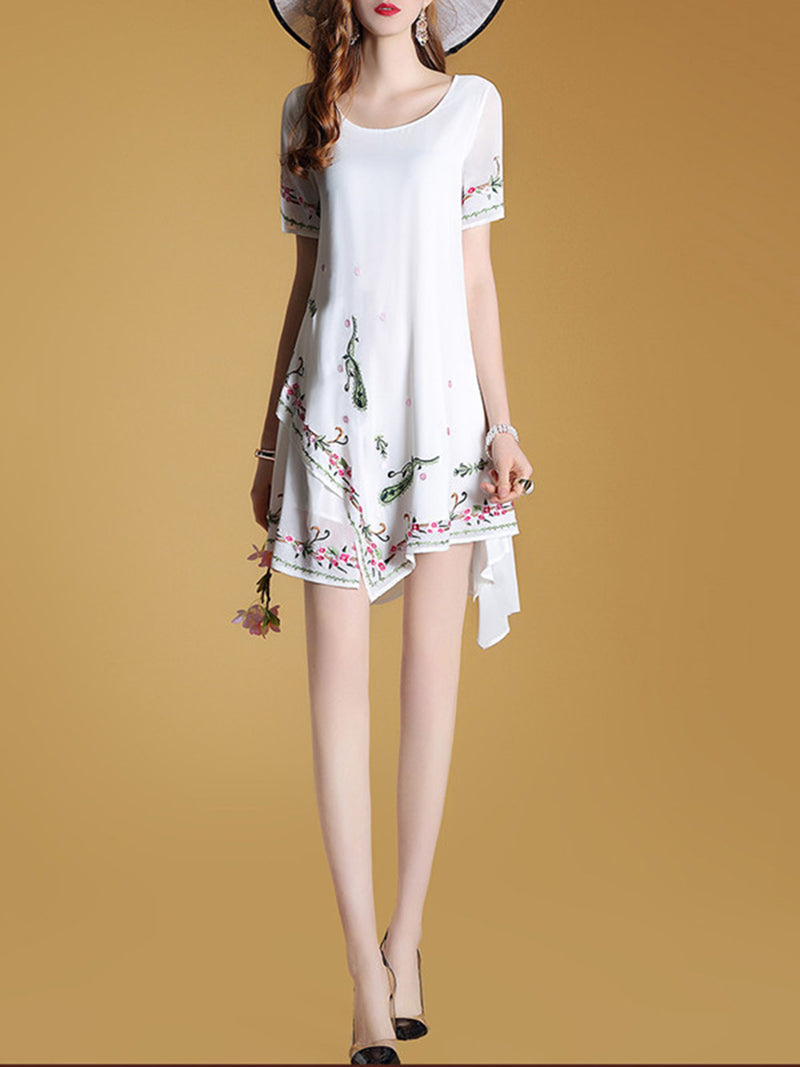 Asymmetrical Short Sleeve Floral Embroidered Dress