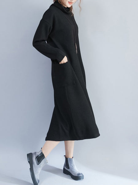 Solid Pockets Casual Shift Casual Dress
