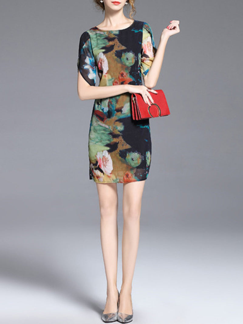 Crew Neck Printed Casual Half Sleeve Dress