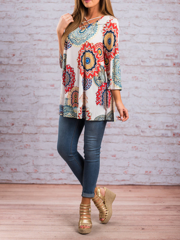 Floral Printed V Neck Casual 3/4 Sleeve Shirt Top