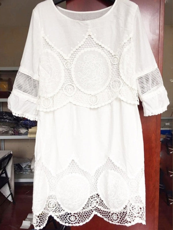 Plus Size White Plain Embroidery Lace Dress