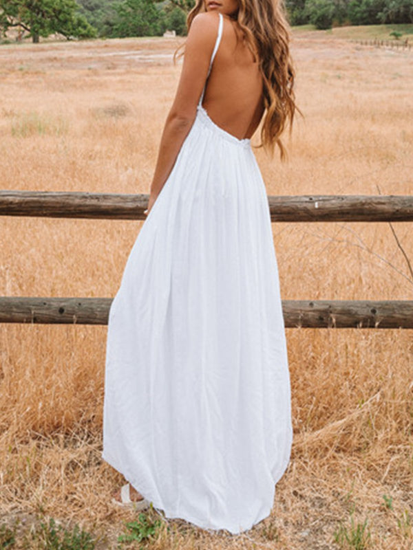 White Sleeveless Swing Backless Maxi Dresses