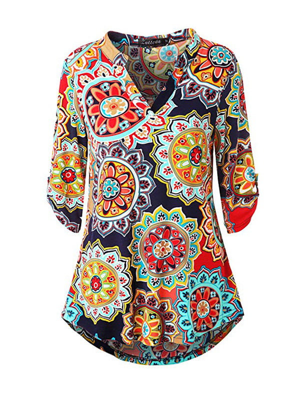 Abstract Printed V-neck Blouse