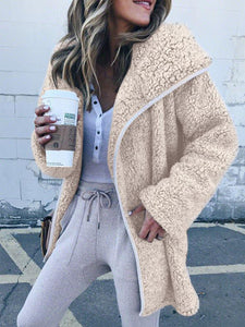 Flufffy Lapel Collar Long Sleeve Coat