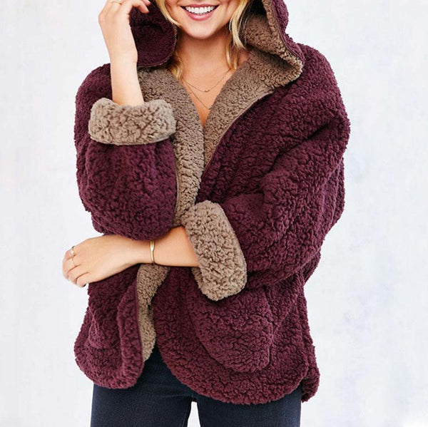 Reversible Faux Fur Long Sleeve Hooded Coat