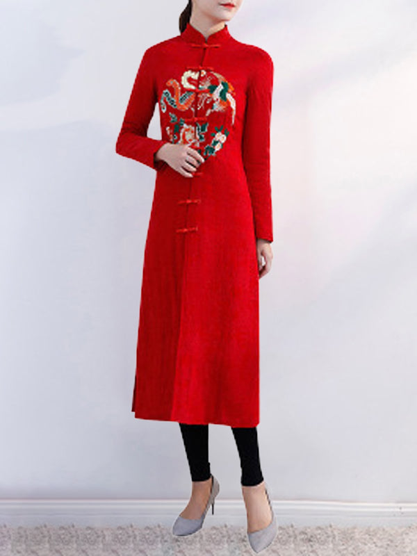 Elegant Embroidered Floral Stand-Up Neck Pockets Dress