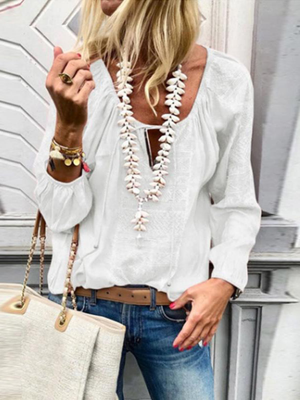 Lace Up Fashion V-Neck Long Sleeve Blouse