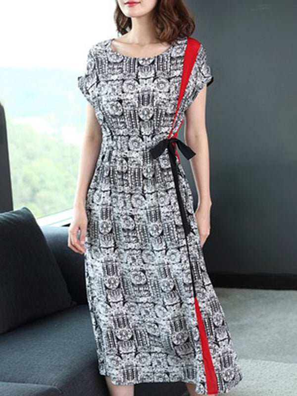 Elegant Printed Short Sleeve Crew Neck Dress