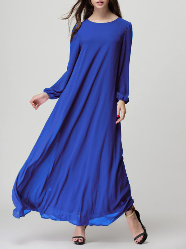 Buttoned Chiffon Casual Maxi Dress