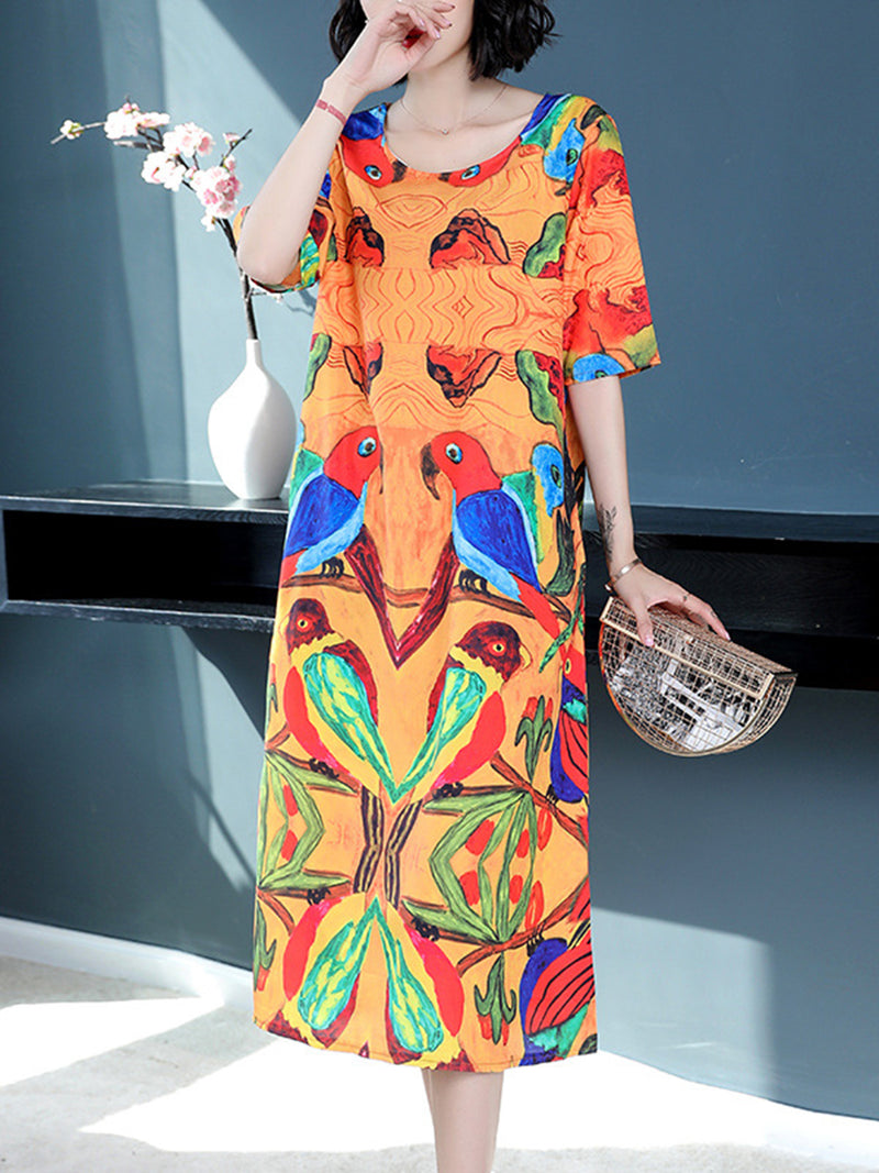 Orange Crew Neck Half Sleeve Printed Dress